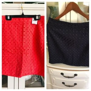 Lot Jcrew eyelet skirts size 6 Coral NWT /Navy GUC